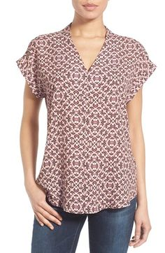 Free shipping and returns on Pleione High/Low V-Neck Mixed Media Top (Regular & Petite) at Nordstrom.com. An easy-fitting top with a…