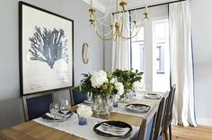 Pale Gray Dining Room Walls - Design photos, ideas and inspiration. Amazing gallery of interior design and decorating ideas of Pale Gray Dining Room Walls in living rooms, dining rooms by elite interior designers - Page 15 Navy Blue Dining Chairs, French Dining Chairs, Dining Room Blue, Dining Room Paint, Dining Room Design, Dining Rooms, Dining Table, Kitchen Dining, Cubes