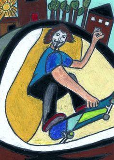 Guy Fawkes Skateboarder.  Created by Jeremy Raglin   (C) 2013