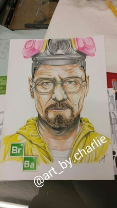 Walter White drawing done is Faber Castelle Polychromos. Instagrame: @art_by_charlie
