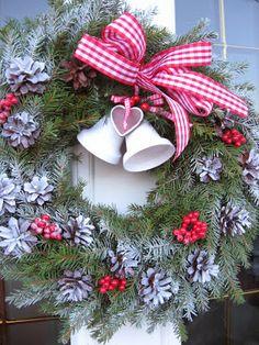 Love the bells Christmas Flowers, Christmas Bells, Christmas Trees, Christmas Decorations, Xmas, Holiday Decor, Gingham, Decor Ideas, Gardening