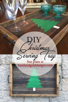 DIY christmas serving tray - detailed free plans - 13 days of a woodworker christmas - #13daysofwoodworking - wood serving tray