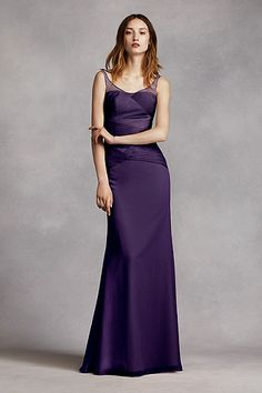 Long Crinkle Chiffon Column Gown with Sash VW360242