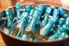 Custom mini champagne bottles as favors #baby #shower