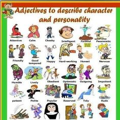 English Adjectives, English Vocabulary, Teaching English, Learn English, Adjectives To Describe People, Adjective Anchor Chart, Personality Adjectives, Describing Characters, Descriptive Words
