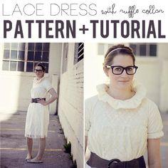 DIY Clothes DIY Refashion  DIY lace dress with ruffle collar pattern