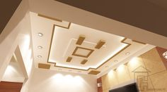 Fall or False Ceiling Design in camel and white. Normally this ceiling design is recommended for large halls or living room. Study Room Design, Design Your Bedroom, Powder Room Design, Closed Kitchen Design, Brown Kitchen Designs, Tv Lounge Design, Pop False Ceiling Design, Fall, Living Room