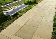 Specialists in Yorkstone or York stone for paving, patio and driveways Outdoor Sofa, Outdoor Furniture, Outdoor Decor, York Stone, Types Of Stones, Sun Lounger, Sidewalk, Driveways, Flooring