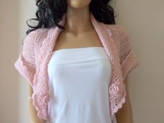 Pale Pink shrug-Blush color Mohair by myknittingworld on Etsy