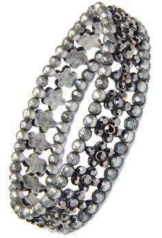 Black Diamond Crystal Flower and Silver Bead Stretchy Bracelet Arm Candy Bracelets, Crystal Flower, Natural Life, Black Diamond, Silver Beads, Crystals, Jewelry, Jewlery, Natural Living