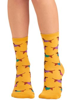Gold Medal Wiener Dog Socks - Yellow, Multi, Print with Animals, Casual, Quirky, Knitted
