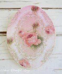 Shabby Rose Chic Plaque Sign Floral Home Decor Wall Hanging Pink Cream Victorian #ShabbyVictorian Whimsydust Graphics