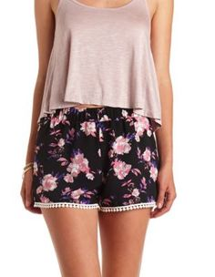cbfb54247bba crochet-trimmed printed high-waisted shorts Floral Shorts