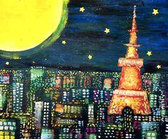 空想/幻想画「東京タワーと満月」[知念 慶昂] | ART-Meter