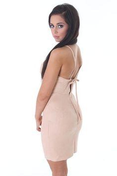 Beige suedette straight neck mini dress