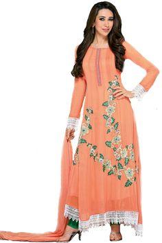 Shop Now - http://valehri.com/salwar-kameez/933-karishma-kapoor-unstitched-peach-long-salwar-kameez-with-dupatta.html