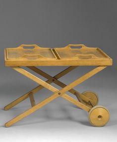 Tapio Wirkkala and Aulis Leinonen; Wooden Tea Trolley for Asko, Tea Trolley, Scandi Chic, Finland, Vintage Designs, 1940s, Furniture Design, Objects, Mid Century, Kitchen