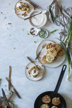 bacon scallion griddle cakes + maple creme fraiche