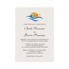 Beach tropical wave with birds wedding invitation by TheStationeryShop