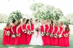 bold red bridesmaid dresses | Amalie Orrange