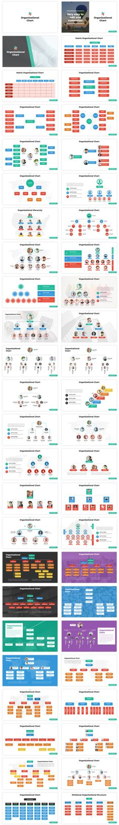 Awesome collection of Organizational Charts and Hierarchy Charts slides, all of them are easy to edit and customize. Save your time and buy this ready to use template that contains more than 100 modern and colorful slides with a great collection of org charts. it comes with 3 ready to use colors themes each one with two backgrounds (Dark and Light). We included two high-quality ready to print versions (A4 and US Letter) /300DPI/ Marketing Presentation, Business Presentation Templates, Presentation Layout, Business Templates, Powerpoint Design Templates, Keynote Template, Keynote Design, Organizational Chart, Infographic Templates