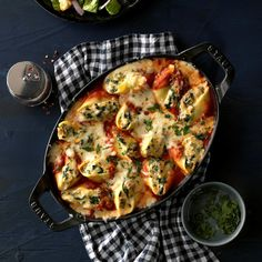 Oregon: Cheese-Stuffed Shells - Taste of Home Potluck Recipes, Pasta Recipes, Cooking Recipes, Potluck Dishes, Casserole Recipes, Family Recipes, Meat Recipes, Recipies, Dinner Recipes