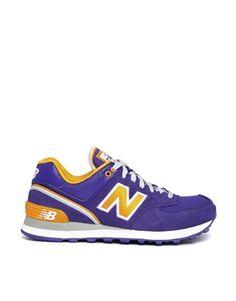 Image 1 of New Balance Purple/Yellow Stadium 574 Trainers