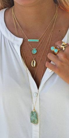 Summer Jewelry Turquoise gold rings white blouse fashion