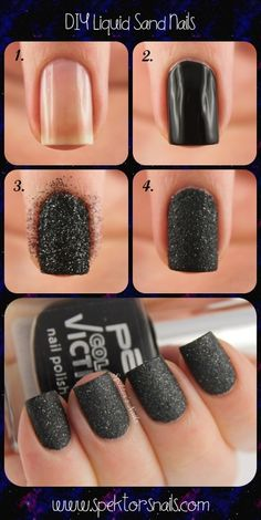 DIY Liquid Sand Nails - http://spektorsnails.tumblr.com/post/39485728192/diy-liquid-sand-nails
