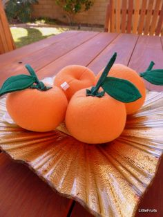 Felt Oranges Pretend Play Food Handcrafted Toy or Home Decor - 2 Pieces on Etsy, $8.00
