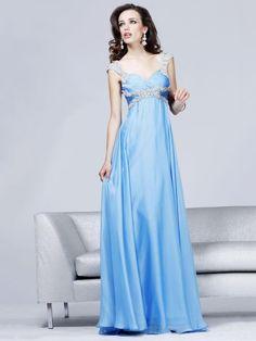 Sky Blue Sheath V-Neck Floor Length Zipper Sweep Train Empire Chiffon Evening Dress With Beads