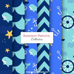 Pack of blue summer patterns Free Vector