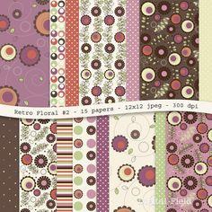 Retro Floral digital scrapbooking paper pack by digitalfield, $3.50