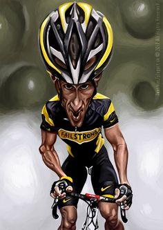 Lance Armstrong (Failstrong) -karikatúra, digitálna kresba A3