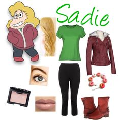 Sadie from Steven Universe by zamantha-palazuelos on Polyvore featuring polyvore, fashion, style, Gentryportofino, Lipsy, Frye, NARS Cosmetics and WigYouUp