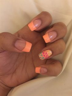 Orange tip acrylic nails