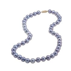 DaVonna 14k 9-10mm Bule Freshwater Cultured Pearl Strand Necklace