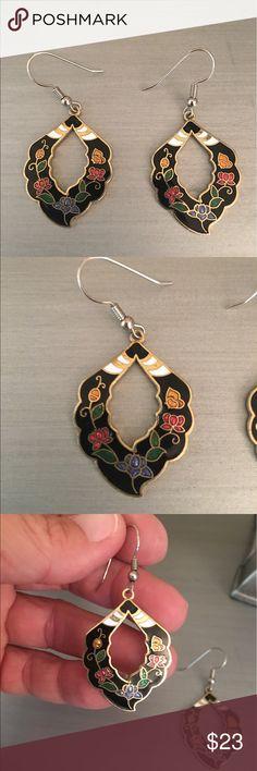 Gold Red Purple Green Floral Drop Earrings Gold tone Boutique Jewelry Earrings