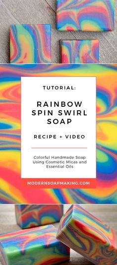 Rainbow Soap Recipe | Colorful spin swirl handmade soap tutorial