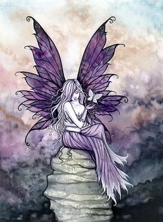"""""""""""Letting Go"""" Fairy Art with White Butterfly"""" by Molly Harrison 