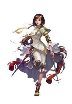 Swordswoman by ~zhetenghui on DA  ~~ Beautiful garment work, flows but useful... ish.