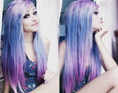 Love this galaxy hair color combine purple, blue and pink~