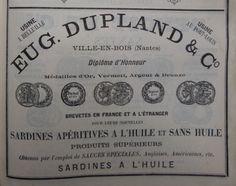 Nantes. Publicité Eug. Dupland & Co, sardines apéritives à l'huile et sans huile. 1882.