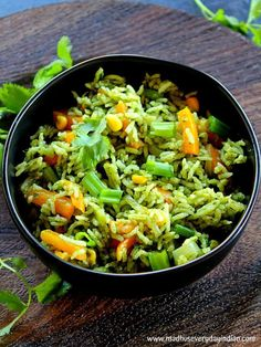 Spinach Fried Rice (Indian) | Palak Fried Rice | Madhu's Everyday Indian