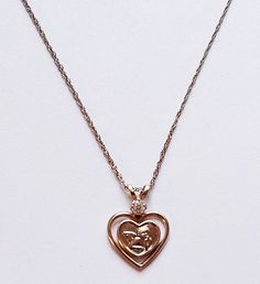 14K Yellow Gold Filled Angel Cherub Heart Pendant Necklace with CZ Accent by paststore on Etsy