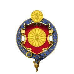 Garter-encircled Shield of Arms of Hirohito, Emperor of Japan - User:Rs-nourse - Wikimedia Commons Order Of The Garter, Tudor Rose, Family Crest, Crests, Wikimedia Commons, Coat Of Arms, Medieval, Symbols, Japanese