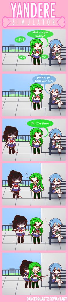 Yandere Comic - Reading Area by DancerQuartz on DeviantArt Yandere Anime, Anime Manga, Yandere Games, Ayano X Budo, Yendere Simulator, Yandere Simulator Fan Art, Otaku, Mini Comic, Love Sick