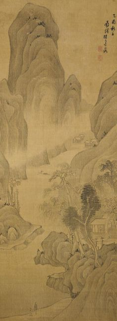 """Wang Daokun (1525-1593)  Visiting a friend by a mountain stream  Hanging scroll, ink on silk; inscribed by the artist """"In the autumn of the yiyou year (1585) Nanming Wang Daokun painted"""" with two seals of the artist reading Wang Daokun yin and Zi Yuqing, accompanied by a silk wrapping cloth and a wood box, both inscribed with colophons by numerous Chinese and Japanese connoisseurs.   59 1/2 x 22 3/4in (151 x 57.8cm)"""
