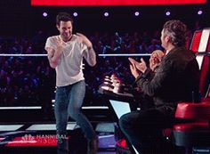 Funny Adam after his hug with Blake [click me]
