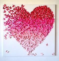 3d pink ombre heart made from hundreds of butterflies